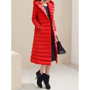 Pure Color Hooded Women Down Coats