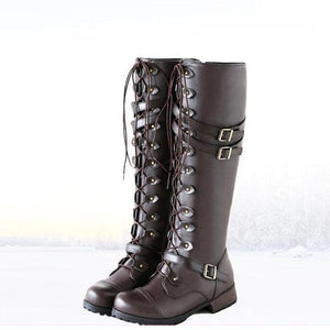Retro Cross Lace Knee Boots