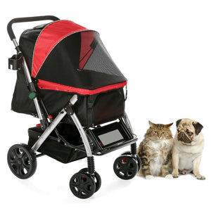 Pet Stroller With Convertible Compartment