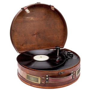 Vintage Suitcase Turntable - Classic Wooden Retro Style