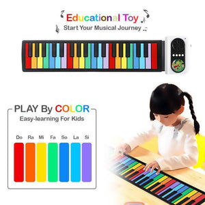 Roll Up Piano, Perfect Gift for Children(White)