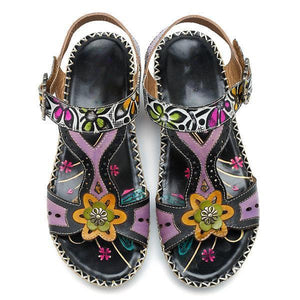 Leather Hook Loop  Handmade Printing Forest Pattern Sandals