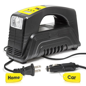 Rapid Performance Portable Air Compressor Tire Inflator with Digital Display for Home (110V) and Car (12V)