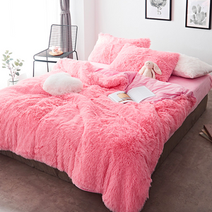Colorful 4 Piece Faux Fur Bedding Set