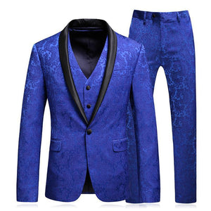 Three Pieces Printing Business Lapel Blazer for Men