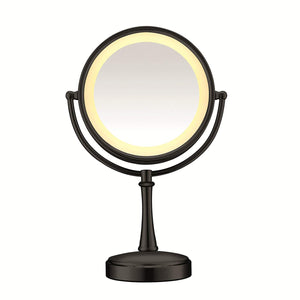Matte Black Sided Lighted Makeup Mirror