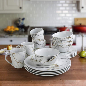White Marble Design Dinnerware Set