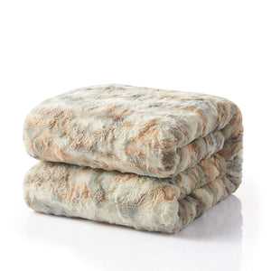 90X90 Super Soft Brown Faux Fur Blanket