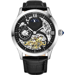 Mens Stainless Steel Automatic Watch, Black Skeleton Dial