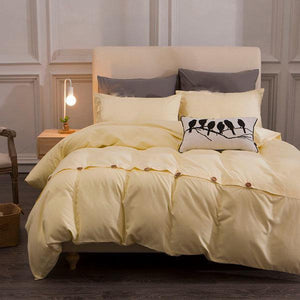 Cotton Button Pillowcases Bedding Suits
