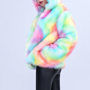 Colorful Faux Fur Hooded Warm Coats