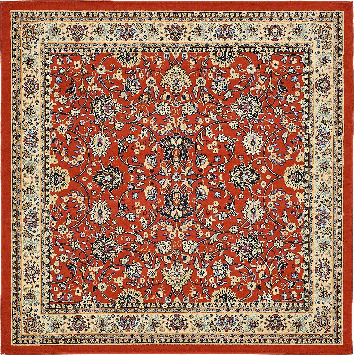 Floral Pattern Rug,8 X 8 Square