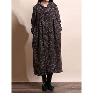 Vintage Casual Women Floral Hooded Overcoat