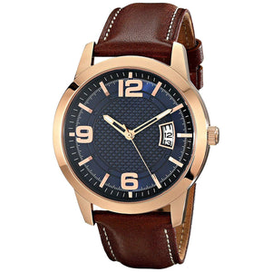Men's Stainless Steel Leather Watch,Brown