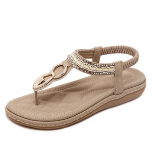 Metal Beaded Bohemia Clip Toe Elastic Flat Sandals