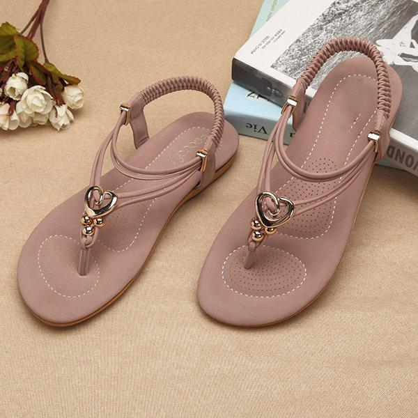 Metal Bohemia Slip On Clip Toe Flat Beach Sandals