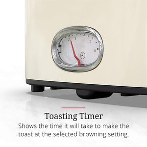 Retro Style Toaster, 2-Slice, Cream