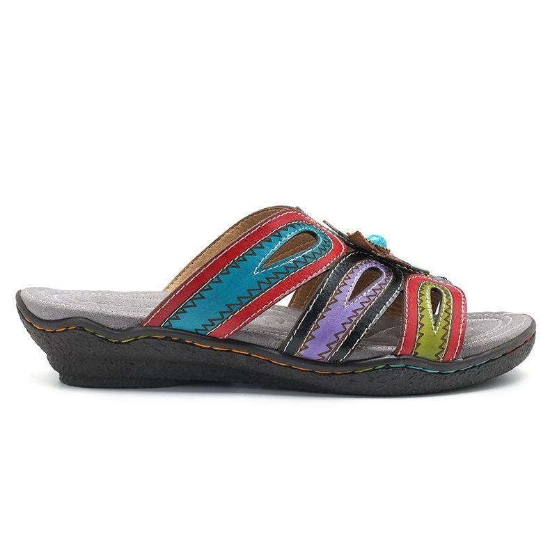 370cc5e94a8f8 Forest Handmade Leather Slip On Printing Flower Very Soft Flat Sandals