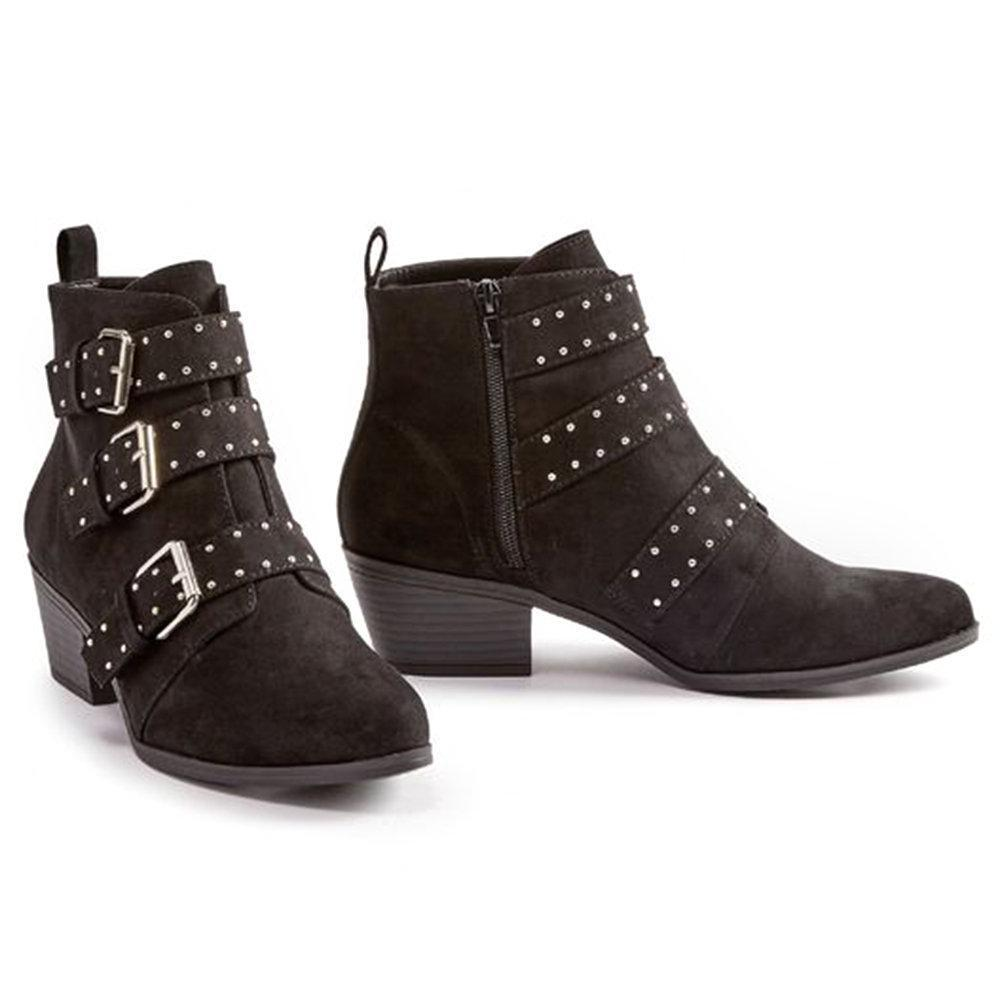 Buckle Metal Beads Zipper Ankle boots