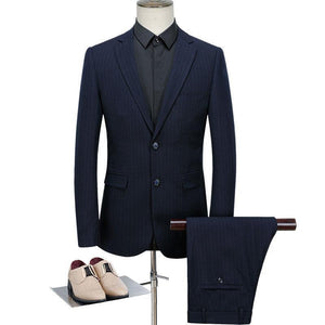 Two Pieces Slim Striped Lapel Collar Blazer Suits