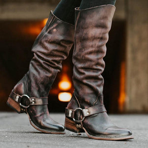 Vintage Zipper Motorcycle Women Boots