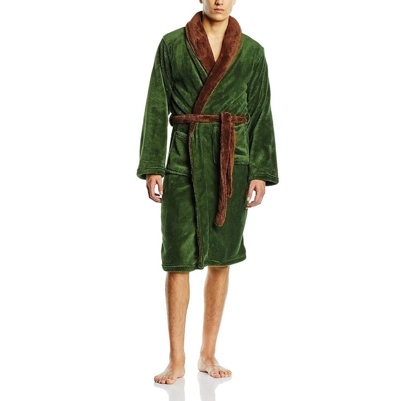 100% Polyester Men's Robe Green/Brown