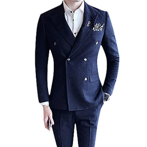 Three Pieces Double Breasted Striped Suit for Men