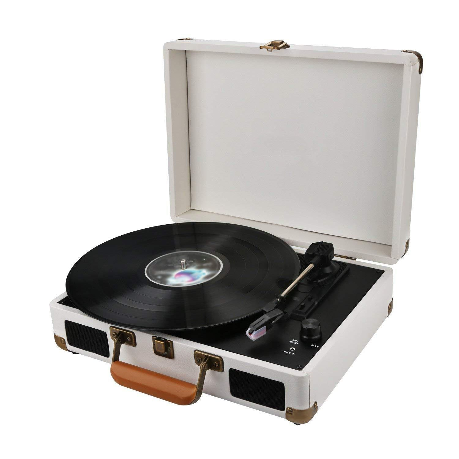 Stereo White 3 Speed Portable Turntable