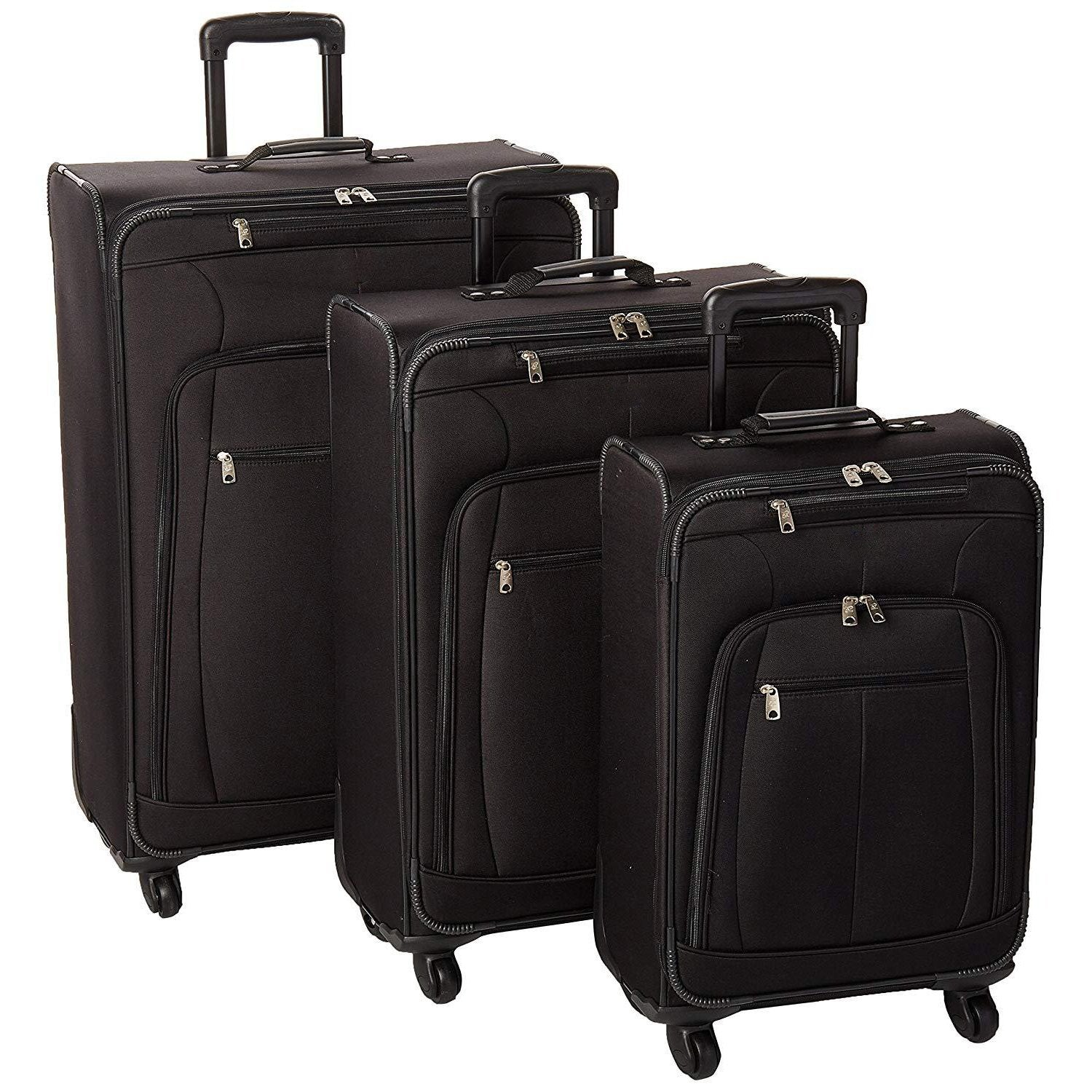 Multiple Pockets Black 3pc Luggage Set