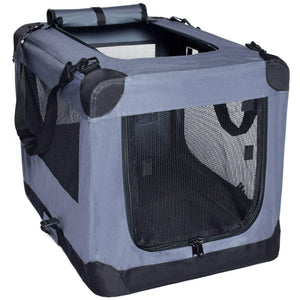 Soft Sided 3 Door Folding Travel Carrier With Straps