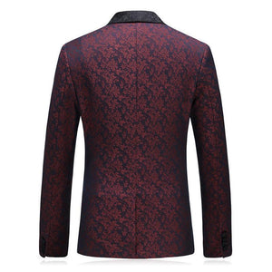 Three Pieces Suit Jacquard Printing Suit