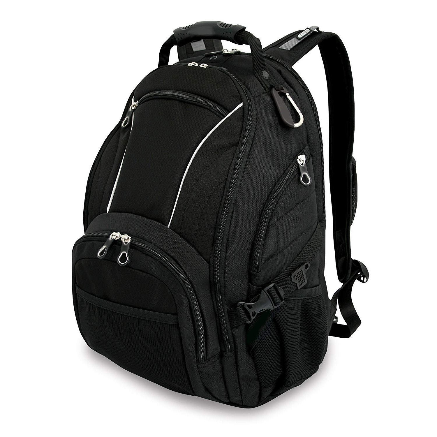 Black Computer Backpack With External Headphone Port