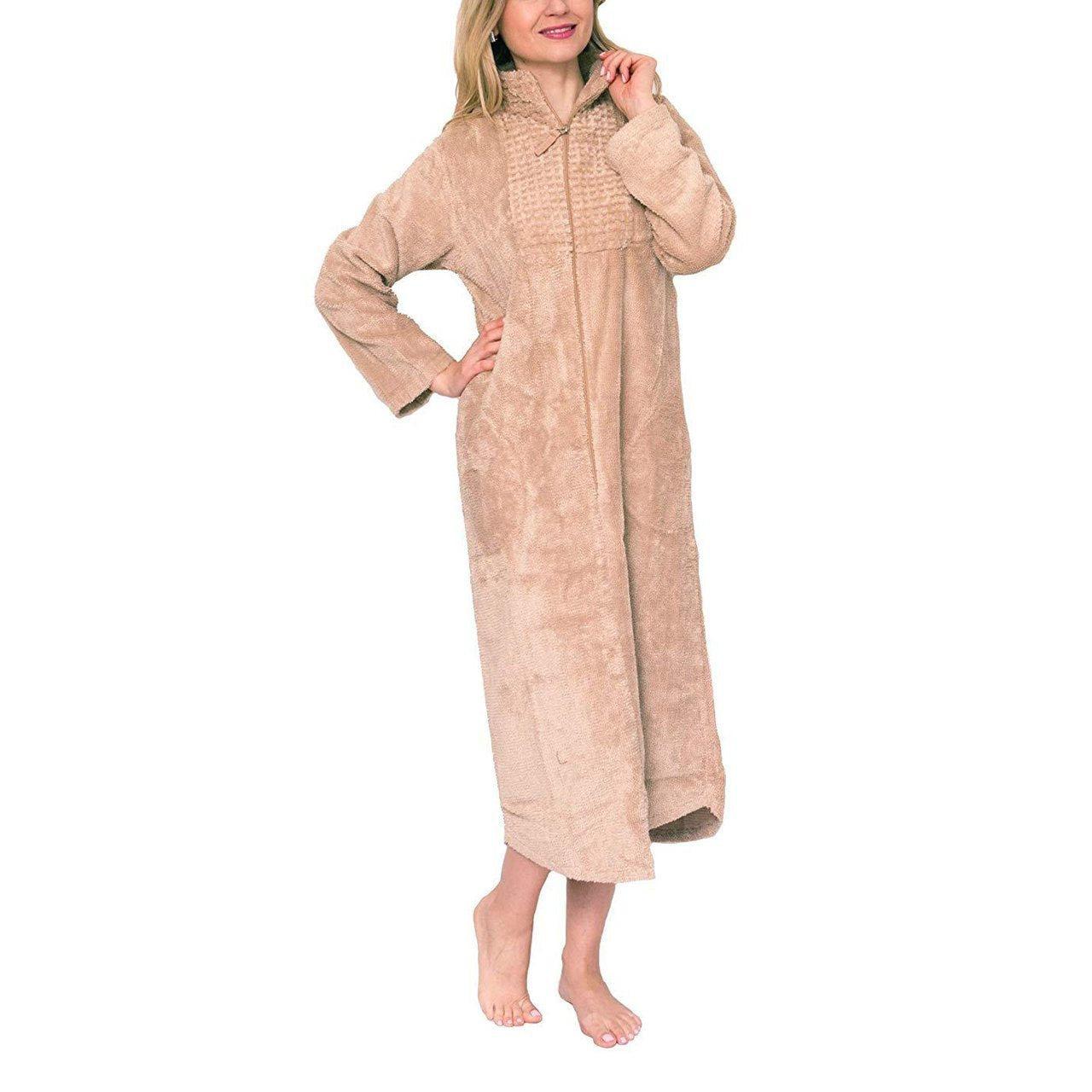 3/4 zipper Women's Long Robe