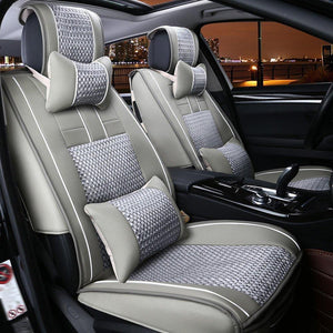 Grey PU Leather Breathable Adjustable Car Seat Covers