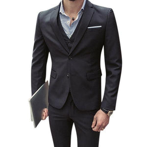 Three Pieces Solid Color Slim Fit Blazer Suit