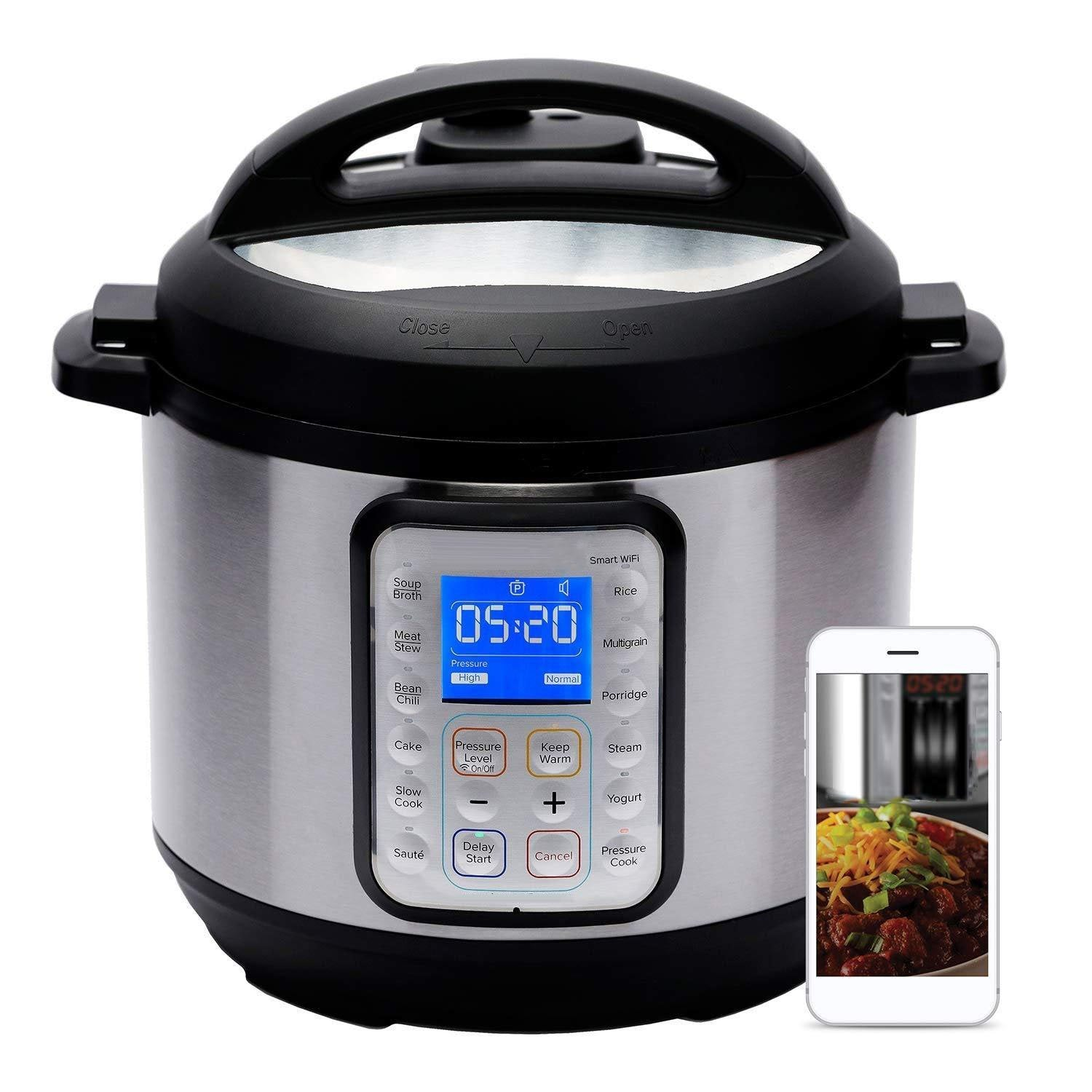Smart WiFi 6 Quart Electric Pressure Cooker,Silver