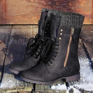 Vintage Wool Knitting Lace Up Zipper Boots