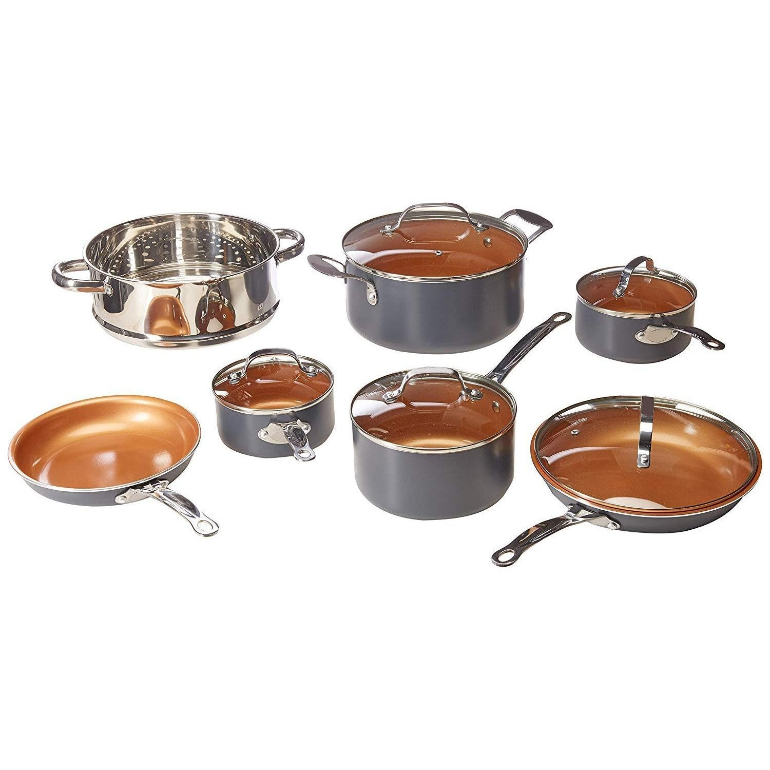 12 Piece Copper Kitchen Set with Non-Stick Copper Coating