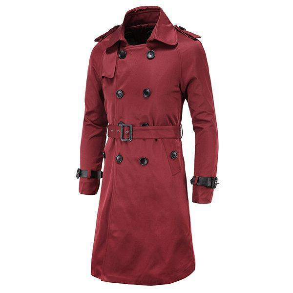 Double-breasted Slim Fit Trench Coat for Men