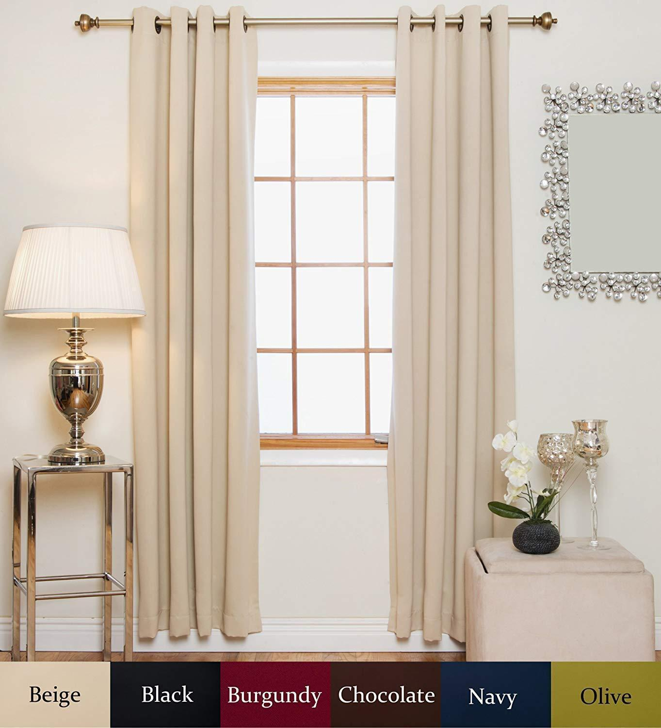120 Inch Length Beige Blackout Curtain