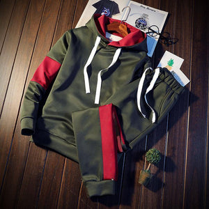 Simple Hooded Pullover Polyester Print Men's Sports Suits