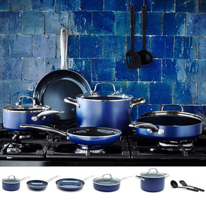 Toxin Free Ceramic Nonstick Cookware Set,10pc,Blue