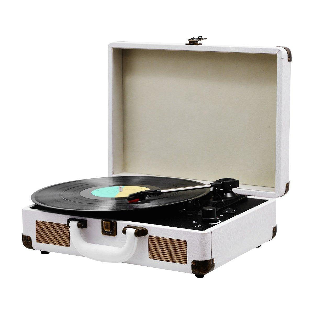 3 Speed Bluetooth Record Player Suitcase - White