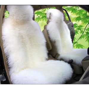 Universal Car Sheepskin Front Seat Covers(White)