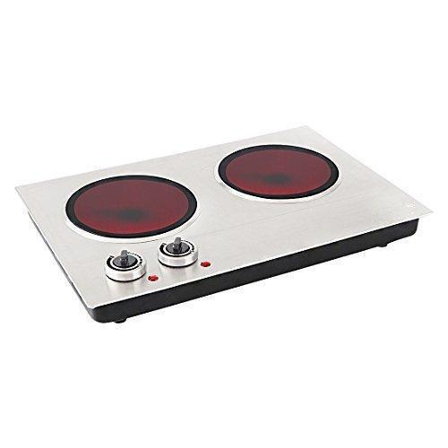 Ceramic Double Countertop Burner , Stainless Steel