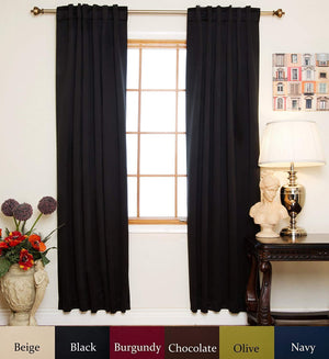 Blackout Curtain Black Rod Energy Saving 120 Inch