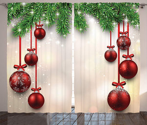 Christmas Curtain Decorations by,2 Panels Set