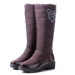 Rhinestone Down Cloth Warm Soft Boots For Women