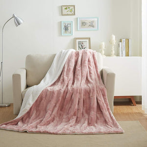 90x90 Faux Fur Rose Pink Soft Throw Blanket