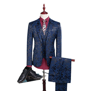 Three Pieces Printing One Button Suit for Men